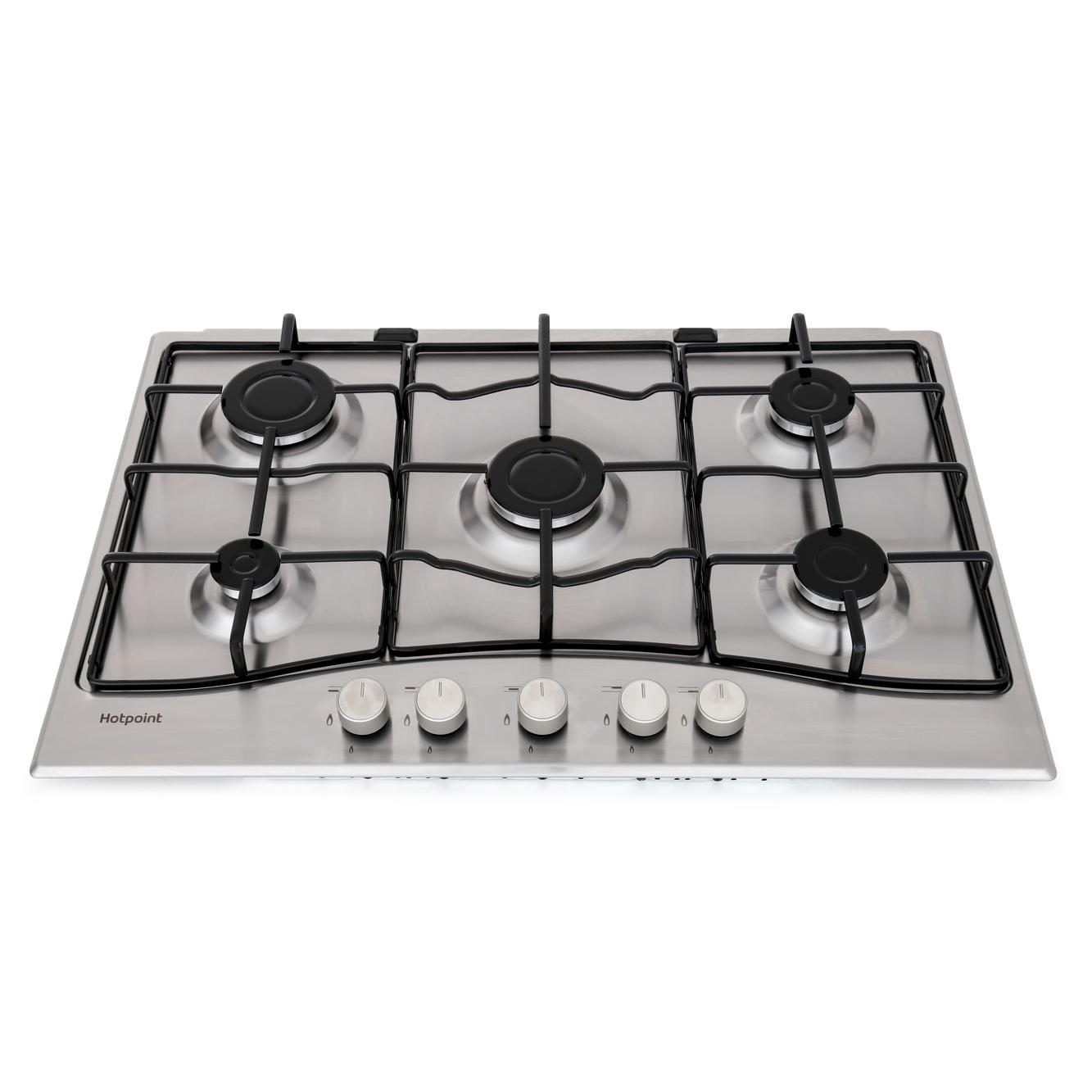 hotpoint pcn752uixh 5 burner gas hob 730mm stainless steel. Black Bedroom Furniture Sets. Home Design Ideas