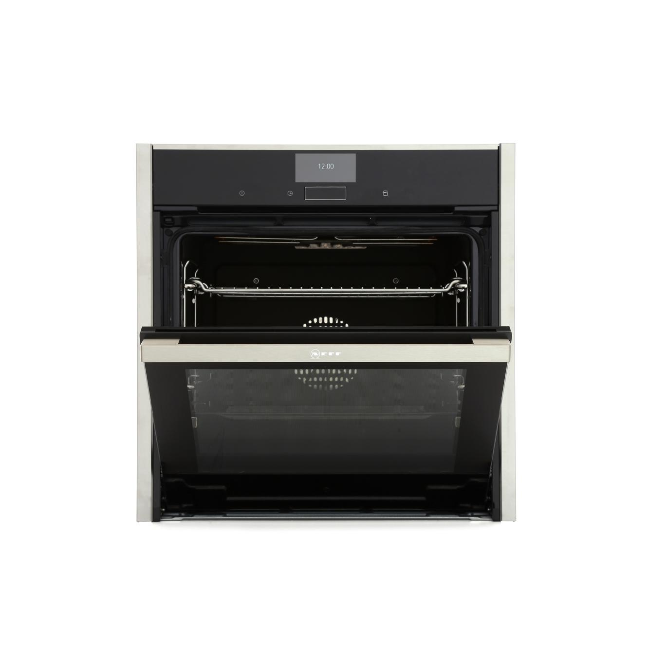 Neff n90 b47fs34nob built in 60cm hide slide electric single steam oven stainless steel - Neff single oven with grill ...